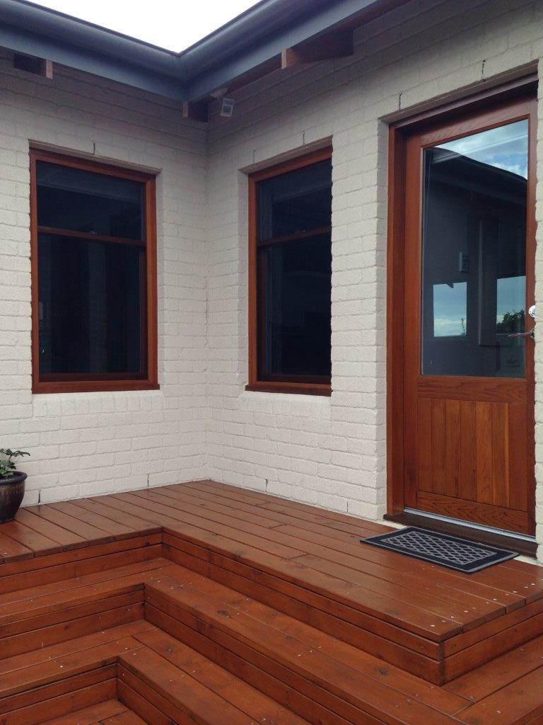 double hung windows and tongue and groove 1/2 lite door